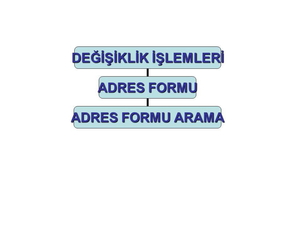 DEĞİŞİKLİK İŞLEMLERİ ADRES FORMU ADRES FORMU ARAMA
