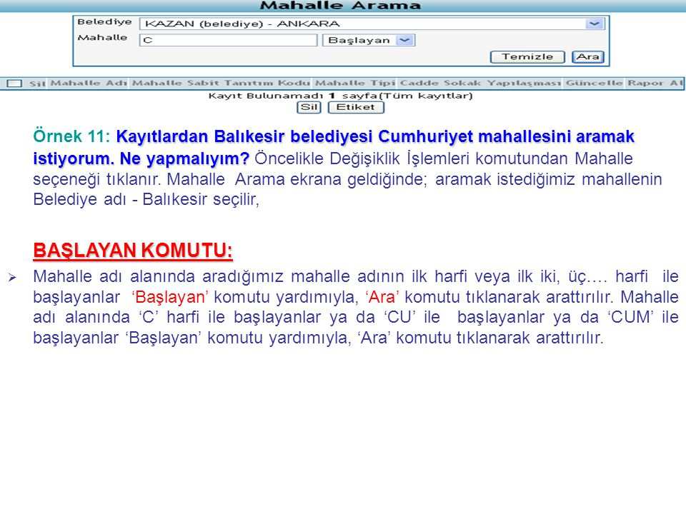 Kayıtlardan Balıkesir belediyesi Cumhuriyet mahallesini aramak istiyorum.