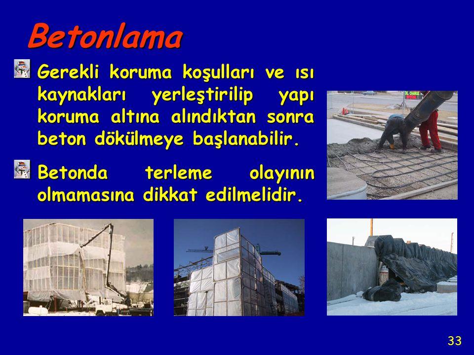 Betonlama Gerekli koruma koşulları ve ısı kaynakları yerleştirilip yapı koruma altına alındıktan sonra beton dökülmeye başlanabilir. Betonda terleme o