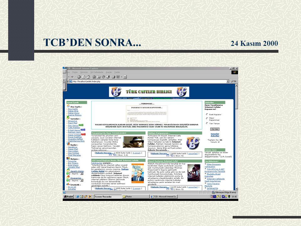 TCB'DEN SONRA... 24 Kasım 2000