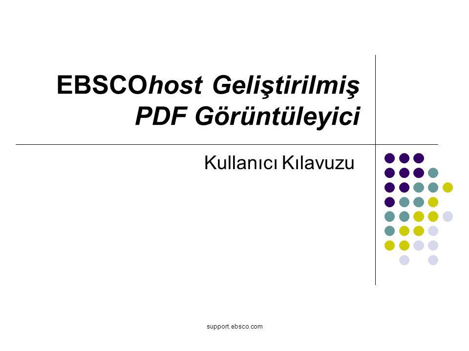support.ebsco.com EBSCOhost Geliştirilmiş PDF Görüntüleyici Kullanıcı Kılavuzu