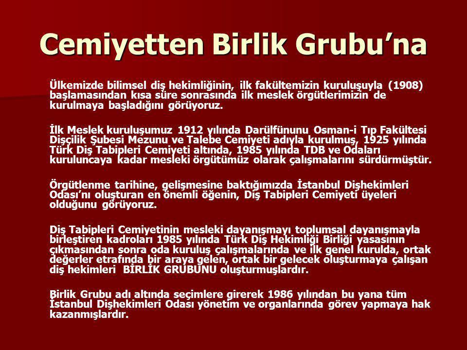 Birlik Grubu'nun, bu başarısındaki en önemli faktör, Birlik Grubu kadrolarının seçilen yönetimleri yalnız bırakmaması, onların başarılı olmaları için, her türlü etkinlikte İstanbul Dişhekimleri Odası'nın yanında olmalarıdır.