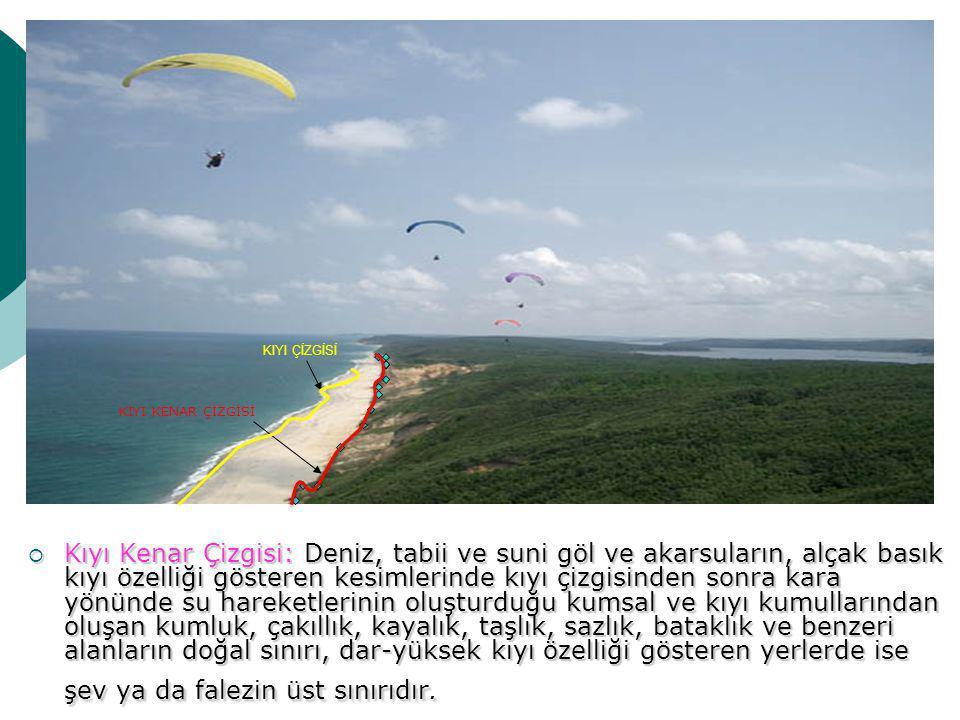  Kıyı : Kıyı çizgisi ile kıyı kenar çizgisi arasında kalan alandır.
