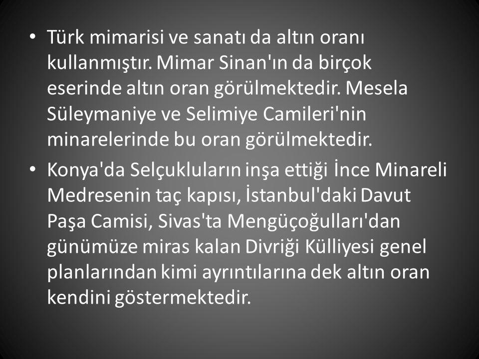 • Türk mimarisi ve sanatı da altın oranı kullanmıştır. Mimar Sinan'ın da birçok eserinde altın oran görülmektedir. Mesela Süleymaniye ve Selimiye Cami