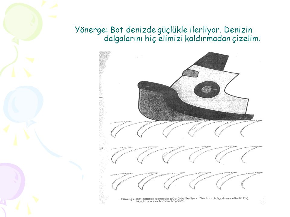 Yönerge: Bot denizde güçlükle ilerliyor. Denizin dalgalarını hiç elimizi kaldırmadan çizelim.