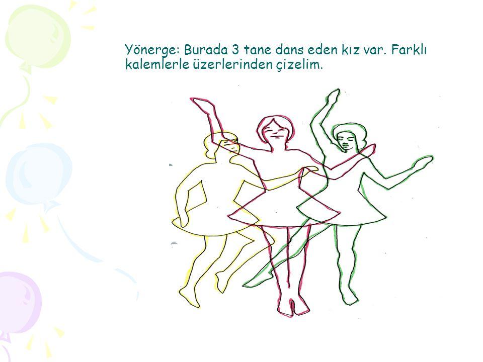 Yönerge: Burada 3 tane dans eden kız var. Farklı kalemlerle üzerlerinden çizelim.
