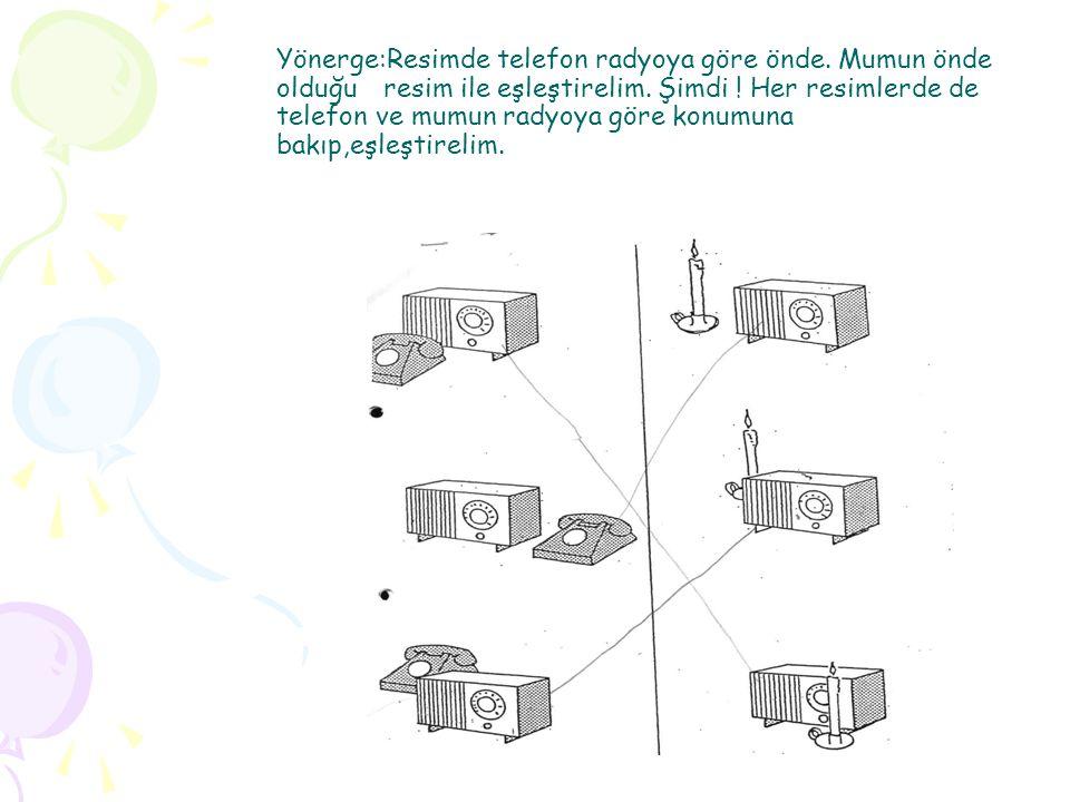 Yönerge:Resimde telefon radyoya göre önde. Mumun önde olduğu resim ile eşleştirelim. Şimdi ! Her resimlerde de telefon ve mumun radyoya göre konumuna
