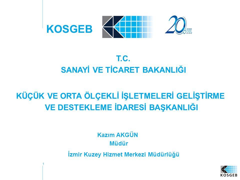 1 KOSGEB Kazım AKGÜN Müdür İzmir Kuzey Hizmet Merkezi Müdürlüğü T.C.