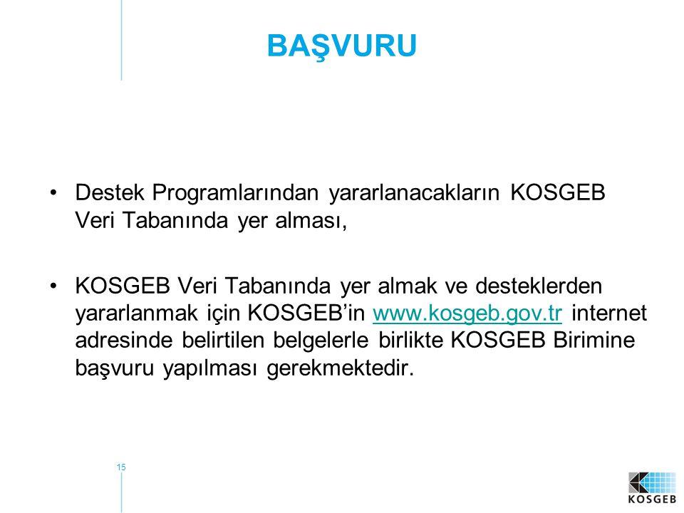 15 BAŞVURU •Destek Programlarından yararlanacakların KOSGEB Veri Tabanında yer alması, •KOSGEB Veri Tabanında yer almak ve desteklerden yararlanmak için KOSGEB'in www.kosgeb.gov.tr internet adresinde belirtilen belgelerle birlikte KOSGEB Birimine başvuru yapılması gerekmektedir.www.kosgeb.gov.tr
