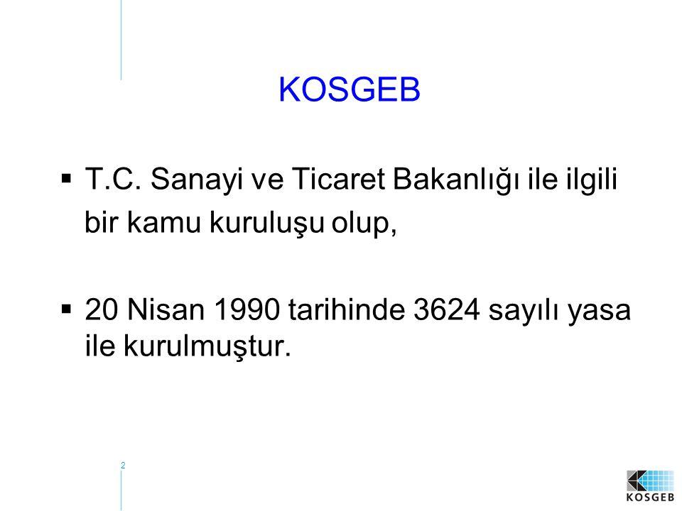 2 KOSGEB  T.C. Sanayi ve Ticaret Bakanlığı ile ilgili bir kamu kuruluşu olup,  20 Nisan 1990 tarihinde 3624 sayılı yasa ile kurulmuştur.