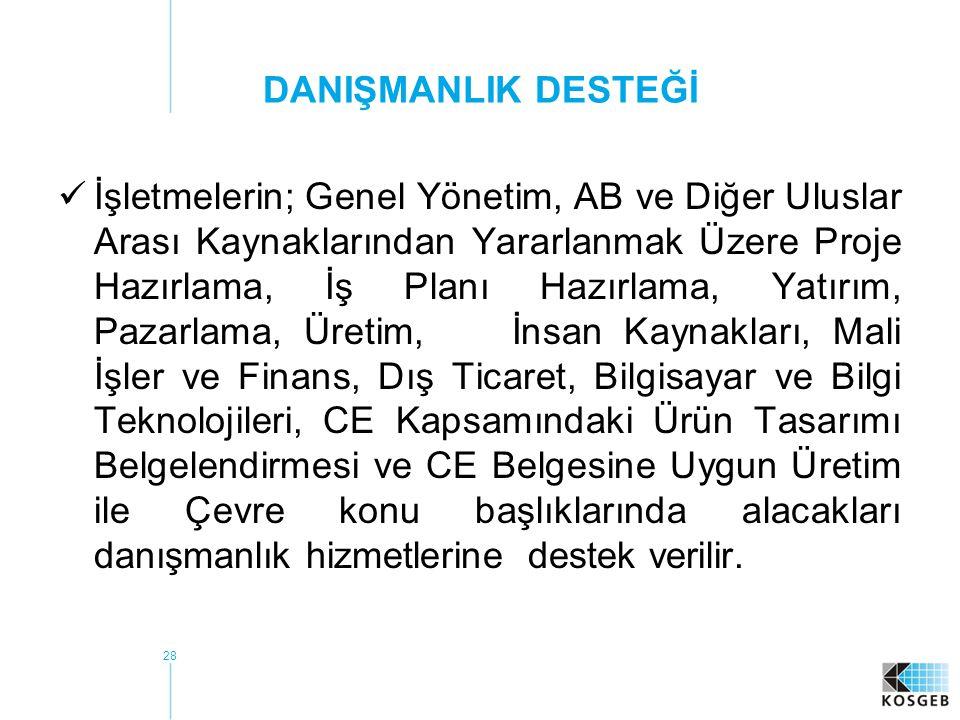 29  Destek kapsamında; Türk Standartları Enstitüsü (TSE) Hizmet Yeterlilik Belgesine sahip danışmanlık kuruluşları, vakıf ve dernekler ile üniversiteler, üniversitelerin işletmelere yönelik danışmanlık hizmeti vermek amacıyla kurulmuş birimleri, kuruluş kanunlarında danışmanlık hizmeti vermek görevi olan kamu kurum ve kuruluşları'ndan hizmet alınabilir.