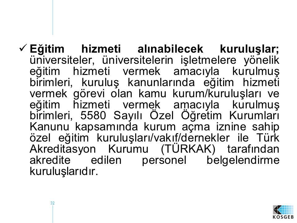 32  Eğitim hizmeti alınabilecek kuruluşlar; üniversiteler, üniversitelerin işletmelere yönelik eğitim hizmeti vermek amacıyla kurulmuş birimleri, kuruluş kanunlarında eğitim hizmeti vermek görevi olan kamu kurum/kuruluşları ve eğitim hizmeti vermek amacıyla kurulmuş birimleri, 5580 Sayılı Özel Öğretim Kurumları Kanunu kapsamında kurum açma iznine sahip özel eğitim kuruluşları/vakıf/dernekler ile Türk Akreditasyon Kurumu (TÜRKAK) tarafından akredite edilen personel belgelendirme kuruluşlarıdır.