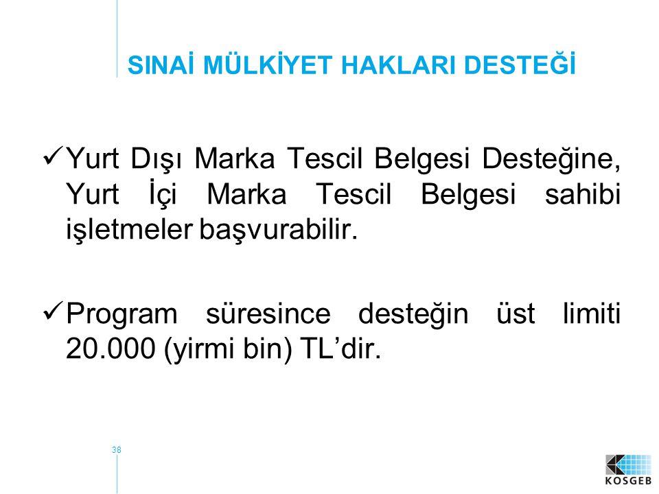 39  Türk Patent Enstitüsü (TPE) veya muadili yurt dışı kurum / kuruluşlardan; patent, faydalı model belgesi, endüstriyel tasarım tescili belgesi ve entegre devre topografyaları tescil belgesi için yaptığı giderler ile patent vekili giderleri ile  Türk Patent Enstitüsü (TPE) muadili yurt dışı kurum / kuruluşlardan alacakları marka tescil belgeleri için yaptığı giderler ile marka vekili giderlerine destek verilir.