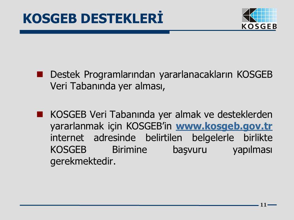 11  Destek Programlarından yararlanacakların KOSGEB Veri Tabanında yer alması,  KOSGEB Veri Tabanında yer almak ve desteklerden yararlanmak için KOS