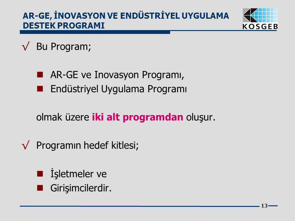 13 √ Bu Program;  AR-GE ve Inovasyon Programı,  Endüstriyel Uygulama Programı olmak üzere iki alt programdan oluşur. √ Programın hedef kitlesi;  İş