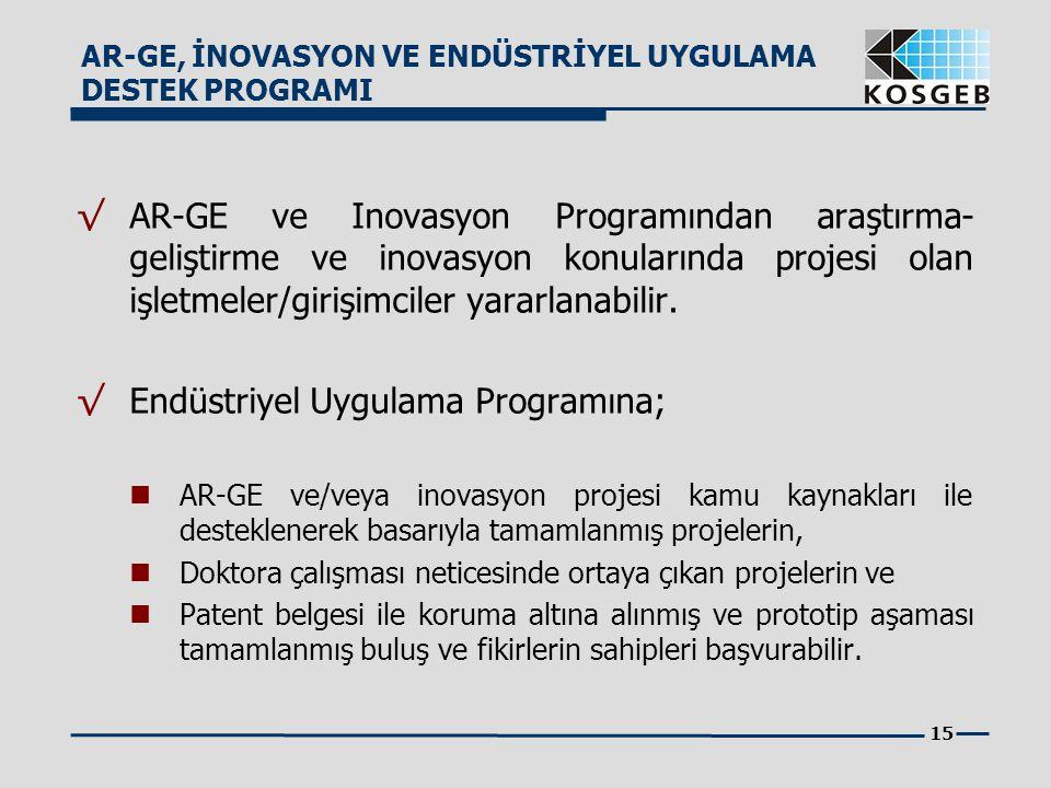 15 √ AR-GE ve Inovasyon Programından araştırma- geliştirme ve inovasyon konularında projesi olan işletmeler/girişimciler yararlanabilir. √ Endüstriyel