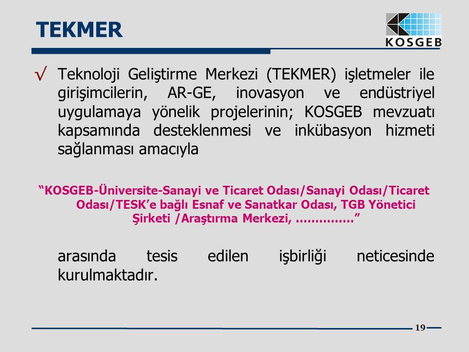 19 √ Teknoloji Geliştirme Merkezi (TEKMER) işletmeler ile girişimcilerin, AR-GE, inovasyon ve endüstriyel uygulamaya yönelik projelerinin; KOSGEB mevz