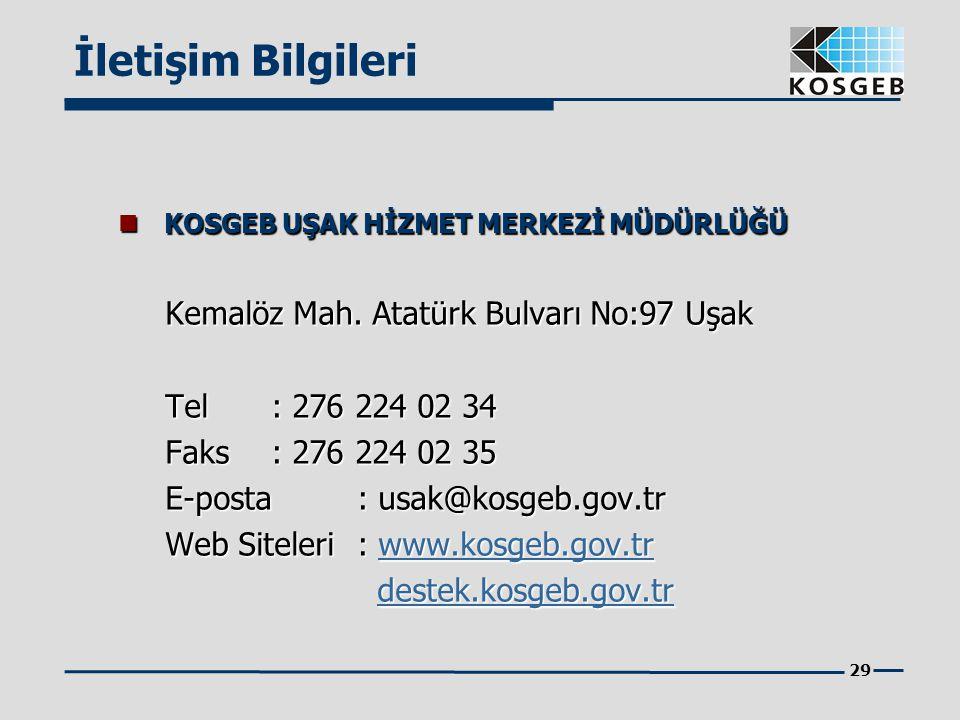 29  KOSGEB UŞAK HİZMET MERKEZİ MÜDÜRLÜĞÜ Kemalöz Mah. Atatürk Bulvarı No:97 Uşak Tel : 276 224 02 34 Faks : 276 224 02 35 E-posta: usak@kosgeb.gov.tr