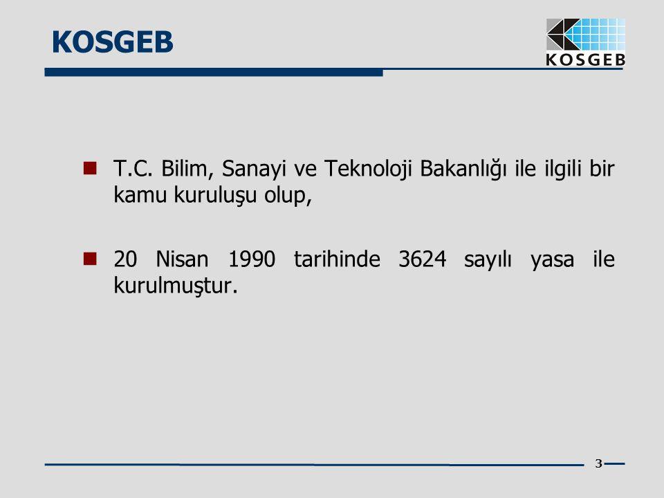 3  T.C. Bilim, Sanayi ve Teknoloji Bakanlığı ile ilgili bir kamu kuruluşu olup,  20 Nisan 1990 tarihinde 3624 sayılı yasa ile kurulmuştur. KOSGEB