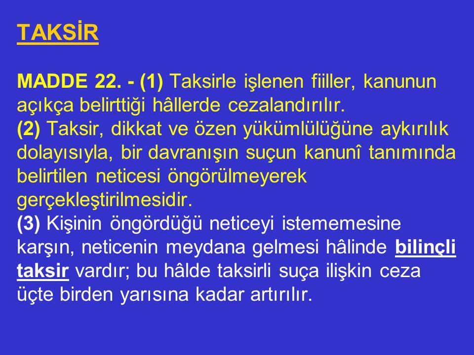 KAST MADDE 21. - (1) Suçun oluşması kastın varlı- ğına bağlıdır. Kast, suçun kanunî tanımındaki un- surların bilerek ve istenerek gerçekleştirilmesidi