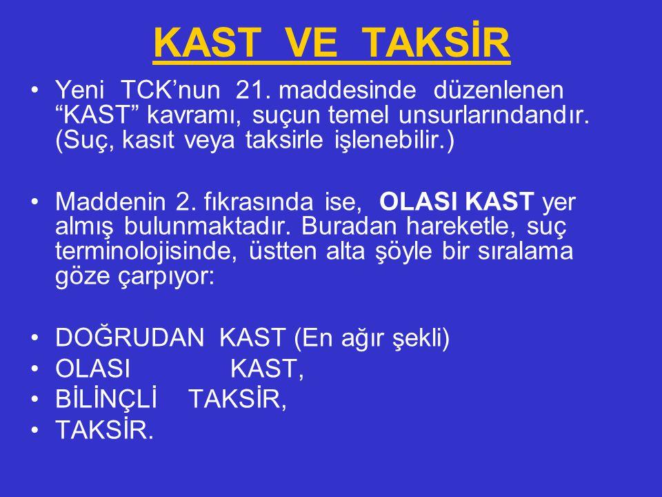 Kast, doğrudan kast ve olası kast olarak; taksir ise, taksir ve bilinçli taksir olarak ikiye ayrılmış ve bunlara ilişkin hükümlere yer verilmiştir (m.