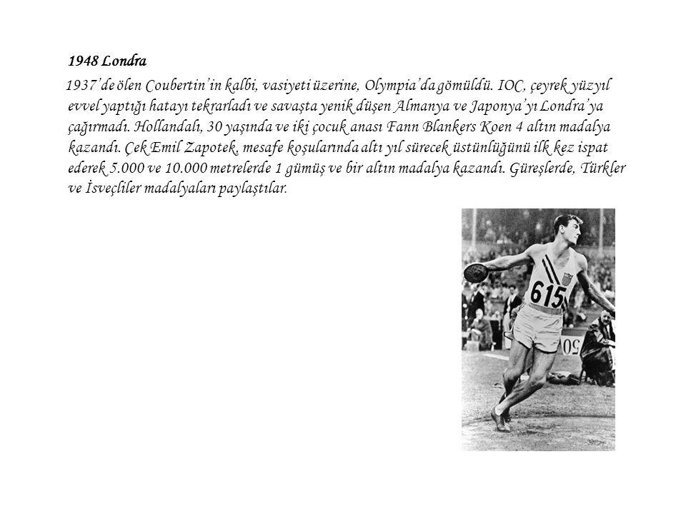 1948 Londra 1937'de ölen Coubertin'in kalbi, vasiyeti üzerine, Olympia'da gömüldü. IOC, çeyrek yüzyıl evvel yaptığı hatayı tekrarladı ve savaşta yenik