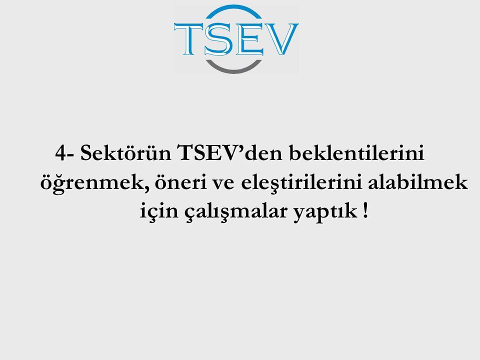 4- Sektörün TSEV'den beklentilerini öğrenmek, öneri ve eleştirilerini alabilmek için çalışmalar yaptık !
