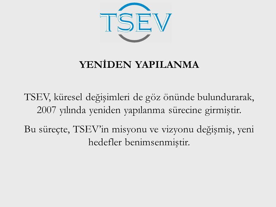 YENİDEN YAPILANMA TSEV, küresel değişimleri de göz önünde bulundurarak, 2007 yılında yeniden yapılanma sürecine girmiştir. Bu süreçte, TSEV'in misyonu