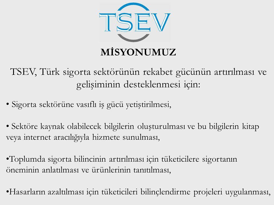 MİSYONUMUZ TSEV, Türk sigorta sektörünün rekabet gücünün artırılması ve gelişiminin desteklenmesi için: • Sigorta sektörüne vasıflı iş gücü yetiştiril