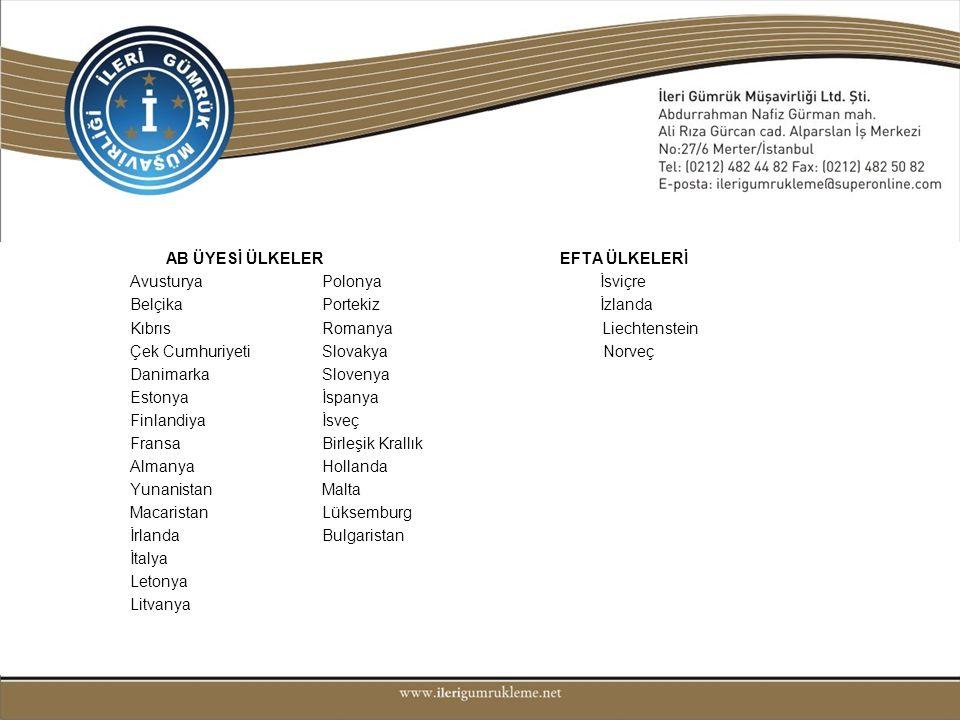 • AB ÜYESİ ÜLKELER EFTA ÜLKELERİ Avusturya Polonya İsviçre Belçika Portekiz İzlanda Kıbrıs Romanya Liechtenstein Çek Cumhuriyeti Slovakya Norveç Danim