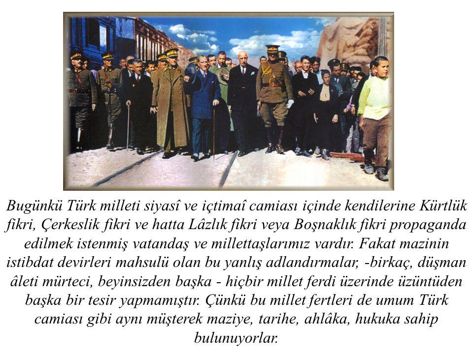 Bugünkü Türk milleti siyasî ve içtimaî camiası içinde kendilerine Kürtlük fikri, Çerkeslik fikri ve hatta Lâzlık fikri veya Boşnaklık fikri propaganda
