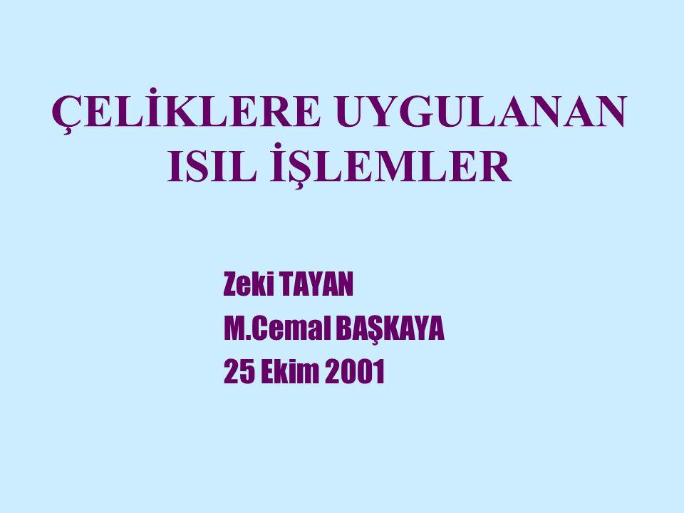 ÇELİKLERE UYGULANAN ISIL İŞLEMLER Zeki TAYAN M.Cemal BAŞKAYA 25 Ekim 2001