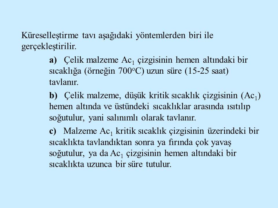 Küreselleştirme tavı aşağıdaki yöntemlerden biri ile gerçekleştirilir. a) Çelik malzeme Ac 1 çizgisinin hemen altındaki bir sıcaklığa (örneğin 700 o C