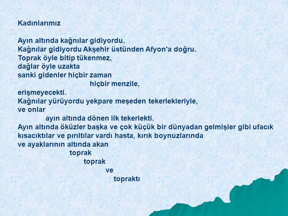 Kadınlarımız Ayın altında kağnılar gidiyordu, Kağnılar gidiyordu Akşehir üstünden Afyon'a doğru. Toprak öyle bitip tükenmez, dağlar öyle uzakta sanki