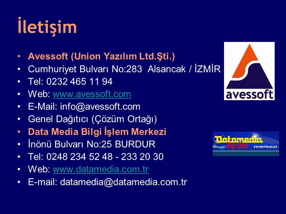 İletişim •Avessoft (Union Yazılım Ltd.Şti.) •Cumhuriyet Bulvarı No:283 Alsancak / İZMİR •Tel: 0232 465 11 94 •Web: www.avessoft.comwww.avessoft.com •E-Mail: info@avessoft.com •Genel Dağıtıcı (Çözüm Ortağı) •Data Media Bilgi İşlem Merkezi •İnönü Bulvarı No:25 BURDUR •Tel: 0248 234 52 48 - 233 20 30 •Web: www.datamedia.com.trwww.datamedia.com.tr •E-mail: datamedia@datamedia.com.tr