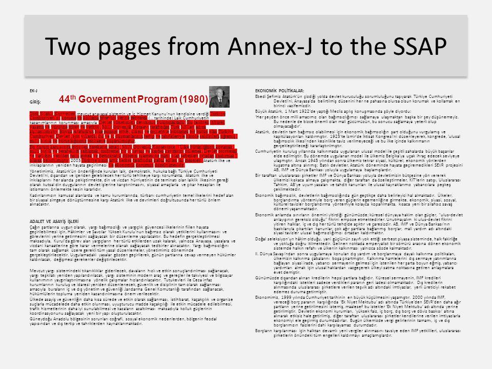 Two pages from Annex-J to the SSAP EK-J GİRİŞ: Türk Silahlı Kuvvetleri mevcut anayasal sistemin ve İç Hizmet Kanunu'nun kendisine verdiği Türkiye Cumh
