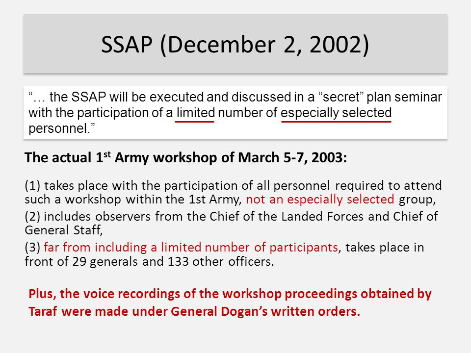 SSAP (December 2, 2002) The actual 1 st Army workshop of March 5-7, 2003: (1) takes place with the participation of all personnel required to attend such a workshop within the 1st Army, not an especially selected group, (2) includes observers from the Chief of the Landed Forces and Chief of General Staff, (3) far from including a limited number of participants, takes place in front of 29 generals and 133 other officers.