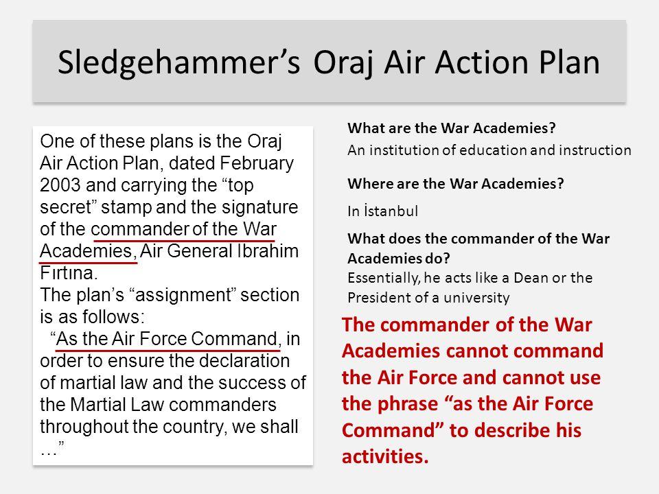 Sledgehammer's Oraj Air Action Plan Where are the War Academies.
