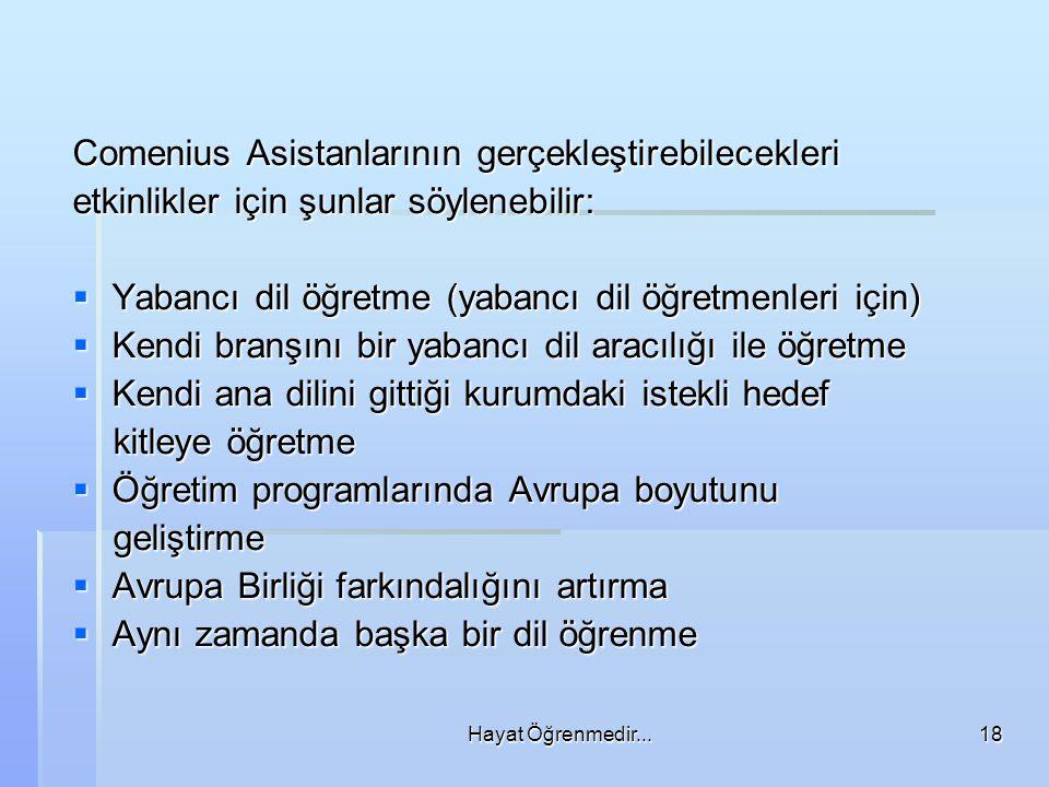 Hayat Öğrenmedir...18 Comenius Asistanlarının gerçekleştirebilecekleri etkinlikler için şunlar söylenebilir:  Yabancı dil öğretme (yabancı dil öğretmenleri için)  Kendi branşını bir yabancı dil aracılığı ile öğretme  Kendi ana dilini gittiği kurumdaki istekli hedef kitleye öğretme kitleye öğretme  Öğretim programlarında Avrupa boyutunu geliştirme geliştirme  Avrupa Birliği farkındalığını artırma  Aynı zamanda başka bir dil öğrenme