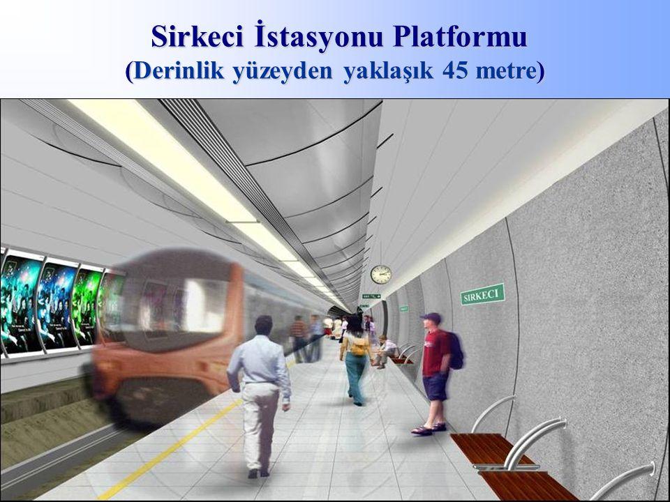 Sirkeci İstasyonu Platformu (Derinlik yüzeyden yaklaşık 45 metre) Sirkeci İstasyonu Platformu (Derinlik yüzeyden yaklaşık 45 metre)