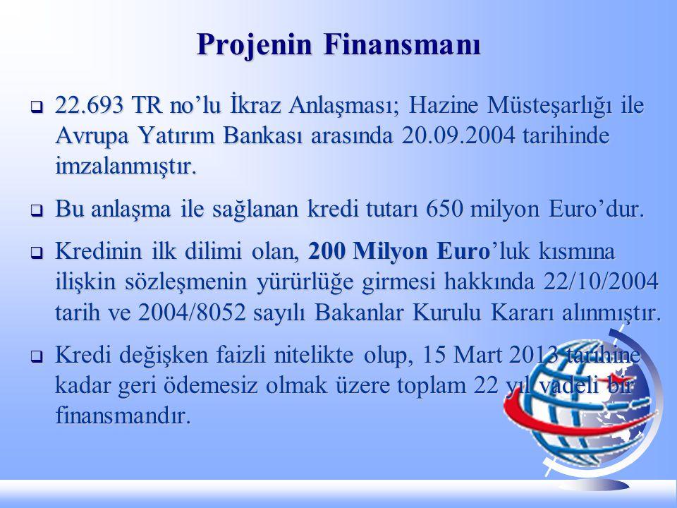 Projenin Finansmanı  22.693 TR no'lu İkraz Anlaşması; Hazine Müsteşarlığı ile Avrupa Yatırım Bankası arasında 20.09.2004 tarihinde imzalanmıştır.