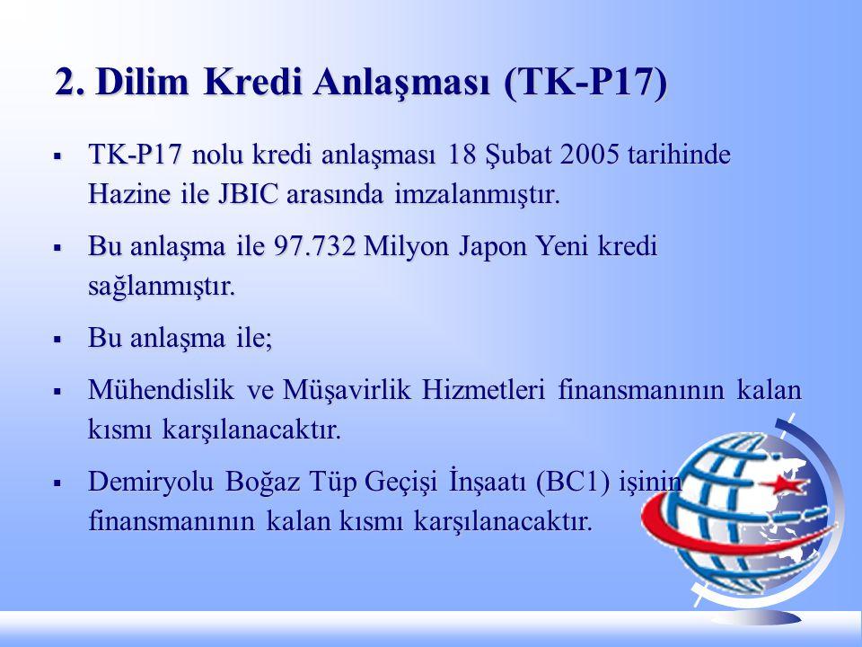  TK-P17 nolu kredi anlaşması 18 Şubat 2005 tarihinde Hazine ile JBIC arasında imzalanmıştır.