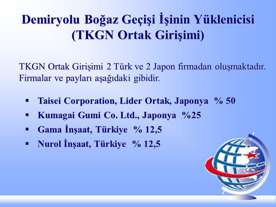 Demiryolu Boğaz Geçişi İşinin Yüklenicisi (TKGN Ortak Girişimi) TKGN Ortak Girişimi 2 Türk ve 2 Japon firmadan oluşmaktadır.