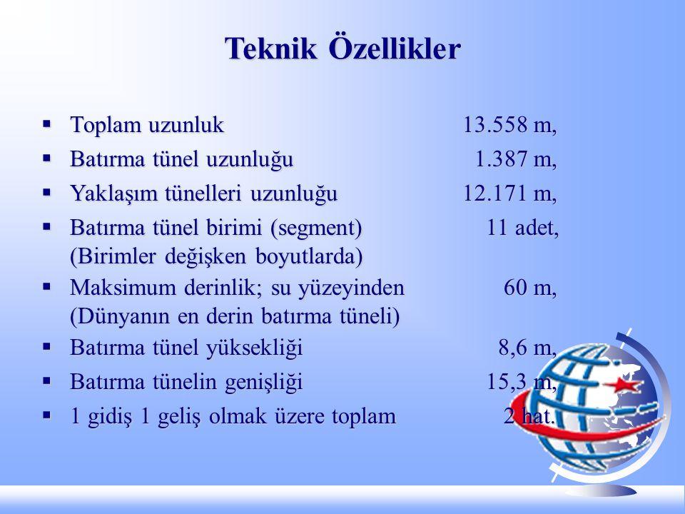 Teknik Özellikler  Toplam uzunluk13.558 m,  Batırma tünel uzunluğu 1.387 m,  Yaklaşım tünelleri uzunluğu 12.171 m,  Batırma tünel birimi (segment) 11 adet, (Birimler değişken boyutlarda)  Maksimum derinlik; su yüzeyinden 60 m, (Dünyanın en derin batırma tüneli)  Batırma tünel yüksekliği 8,6 m,  Batırma tünelin genişliği 15,3 m,  1 gidiş 1 geliş olmak üzere toplam 2 hat.