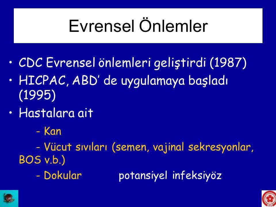 •CDC Evrensel önlemleri geliştirdi (1987) •HICPAC, ABD' de uygulamaya başladı (1995) •Hastalara ait - Kan - Vücut sıvıları (semen, vajinal sekresyonla