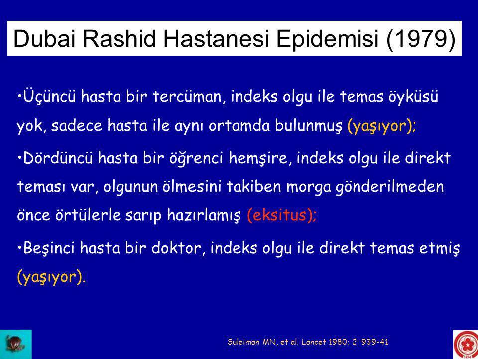•Bir indeks KKHA olgusunu takiben 7 nozokomiyal sağlık personeli olgusu •İndeks olgu ile birlikte 1 sağlık personeli EKSİTUS •Epidemi bariyer önlemleri ile durdurulmuş Tygerberg Hastanesi Epidemisi (1984) van Eeden PJ, et al.