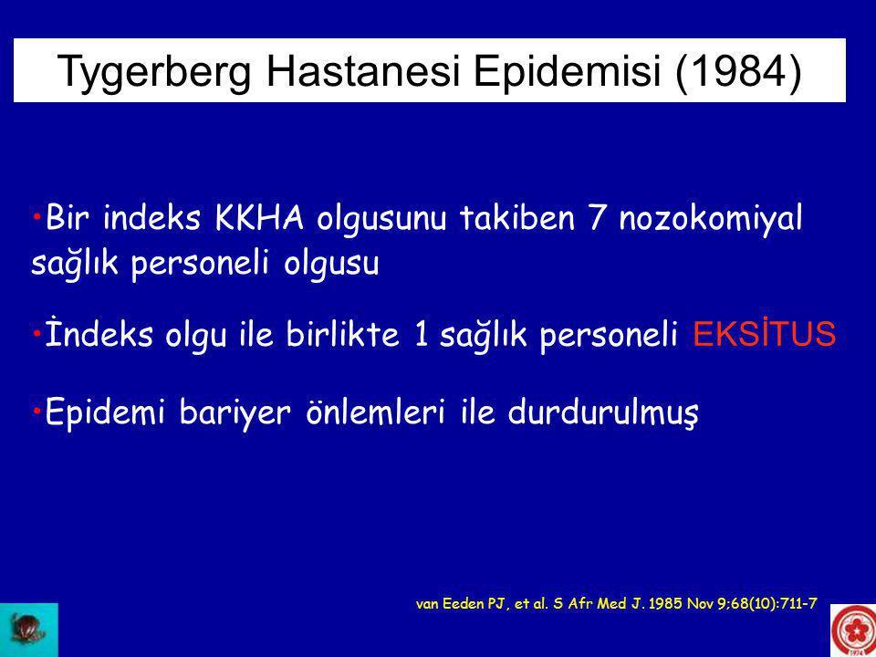 •İlk hasta bir doktor, hasta ile teması yok, sadece hastanın bulunduğu odayı ziyaret etmiş, (eksitus) •İkinci hasta altı hemşireden ilki, servis sorumlusu, indeks olgu ile teması yok, (yaşıyor) •İkinci hemşire indeks olgu ile temas etmiş, eline iğne batmış, (yaşıyor) •Üçüncü hemşire indeks olgu ile temas etmiş, eline iğne batmış, (yaşıyor) Tygerberg Hastanesi Epidemisi (1984) van Eeden PJ, et al.