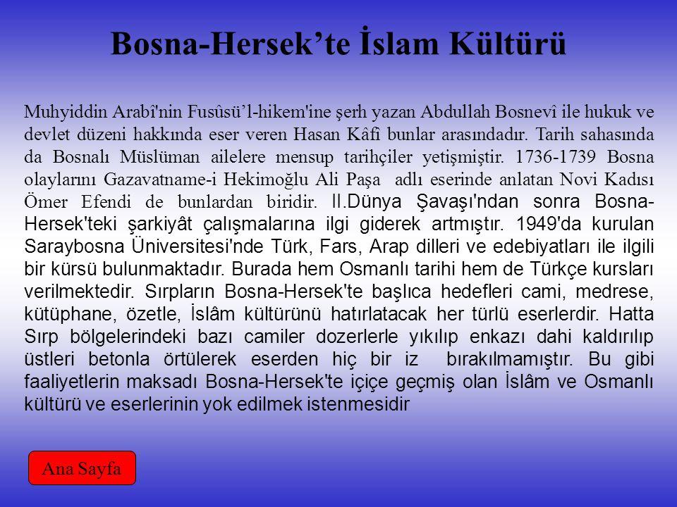 Bosna-Hersek'te İslam Kültürü Muhyiddin Arabî nin Fusûsü'l-hikem ine şerh yazan Abdullah Bosnevî ile hukuk ve devlet düzeni hakkında eser veren Hasan Kâfî bunlar arasındadır.