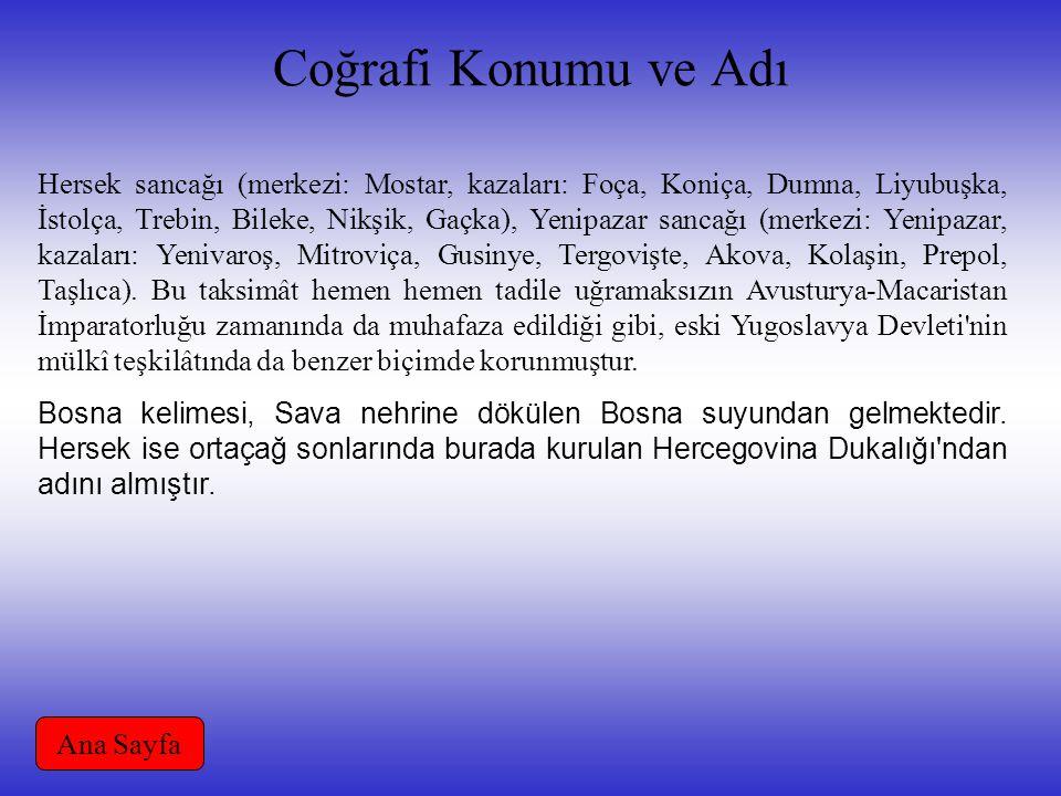 Coğrafi Konumu ve Adı Hersek sancağı (merkezi: Mostar, kazaları: Foça, Koniça, Dumna, Liyubuşka, İstolça, Trebin, Bileke, Nikşik, Gaçka), Yenipazar sa