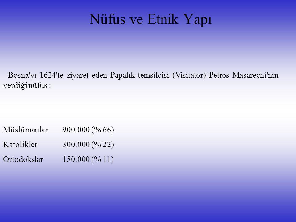 Nüfus ve Etnik Yapı Bosna yı 1624 te ziyaret eden Papalık temsilcisi (Visitator) Petros Masarechi nin verdiği nüfus : Müslümanlar900.000 (% 66) Katolikler 300.000 (% 22) Ortodokslar 150.000 (% 11)